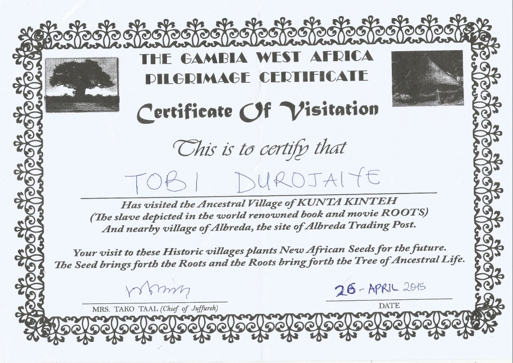 Certificate of Visit 1